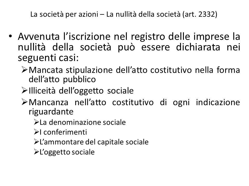 La società per azioni – La nullità della società (art. 2332)