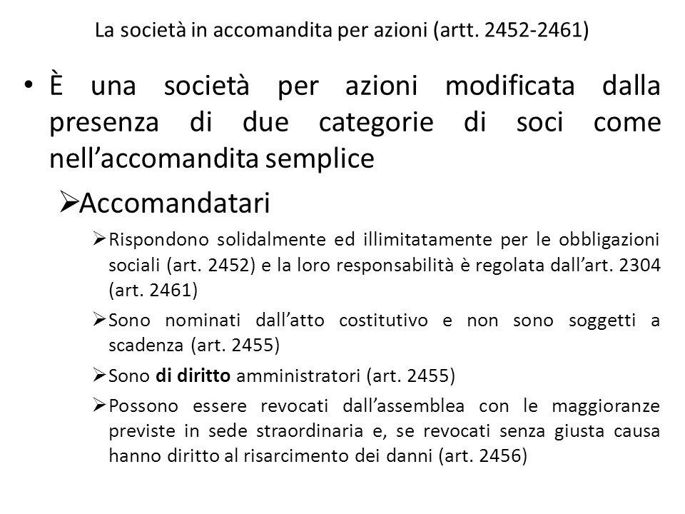 La società in accomandita per azioni (artt. 2452-2461)