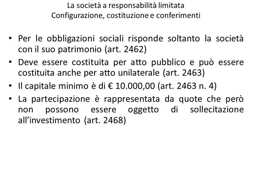 Il capitale minimo è di € 10.000,00 (art. 2463 n. 4)