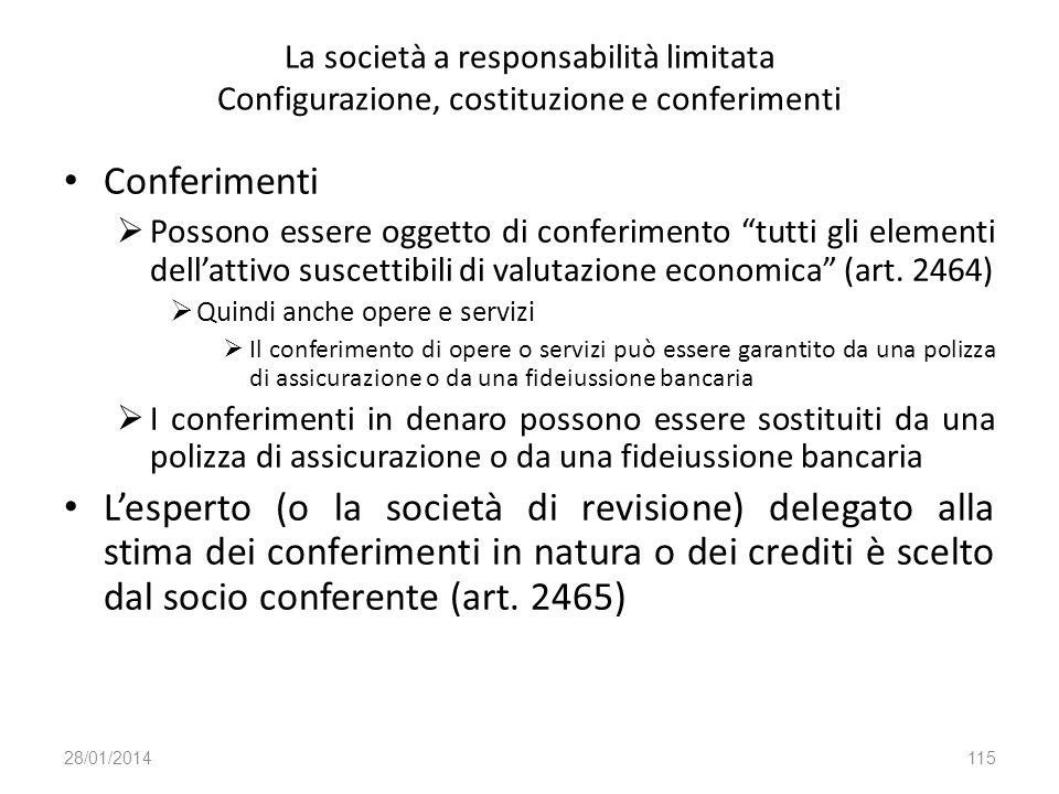 La società a responsabilità limitata Configurazione, costituzione e conferimenti