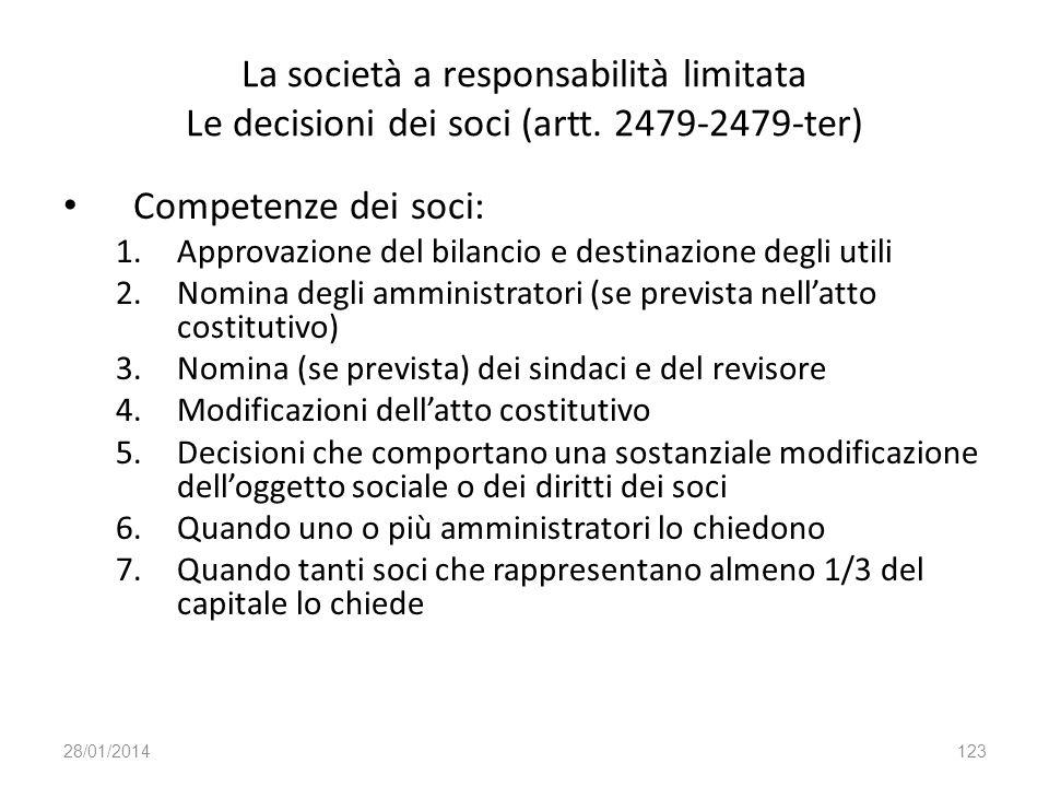 La società a responsabilità limitata Le decisioni dei soci (artt