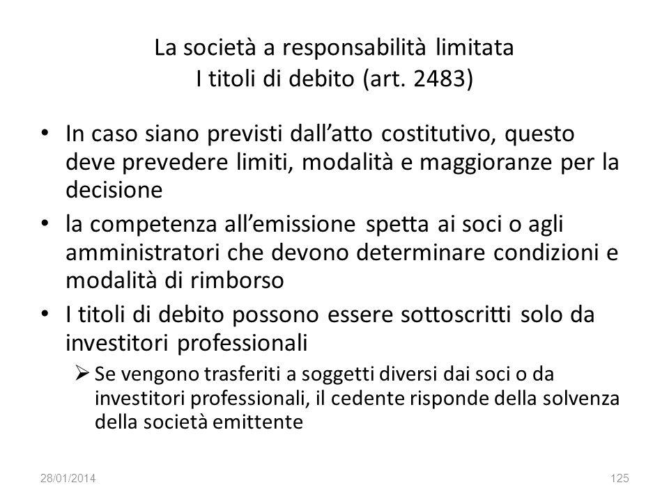 La società a responsabilità limitata I titoli di debito (art. 2483)