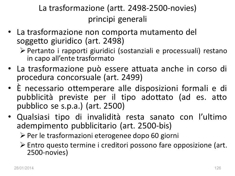 La trasformazione (artt. 2498-2500-novies) principi generali
