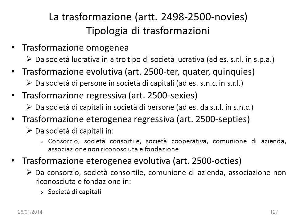 La trasformazione (artt. 2498-2500-novies) Tipologia di trasformazioni