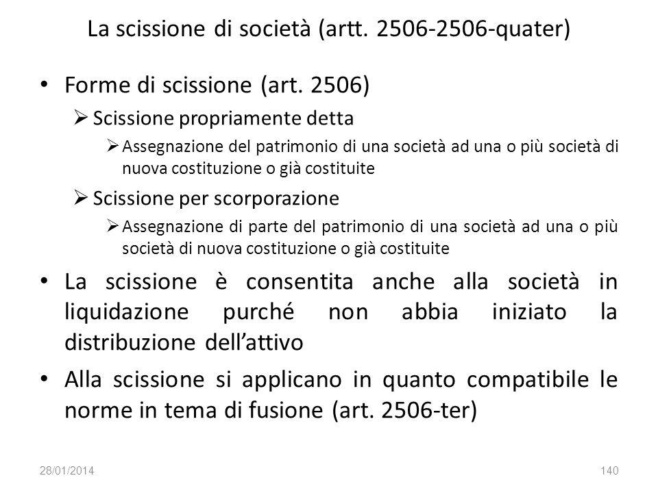 La scissione di società (artt. 2506-2506-quater)