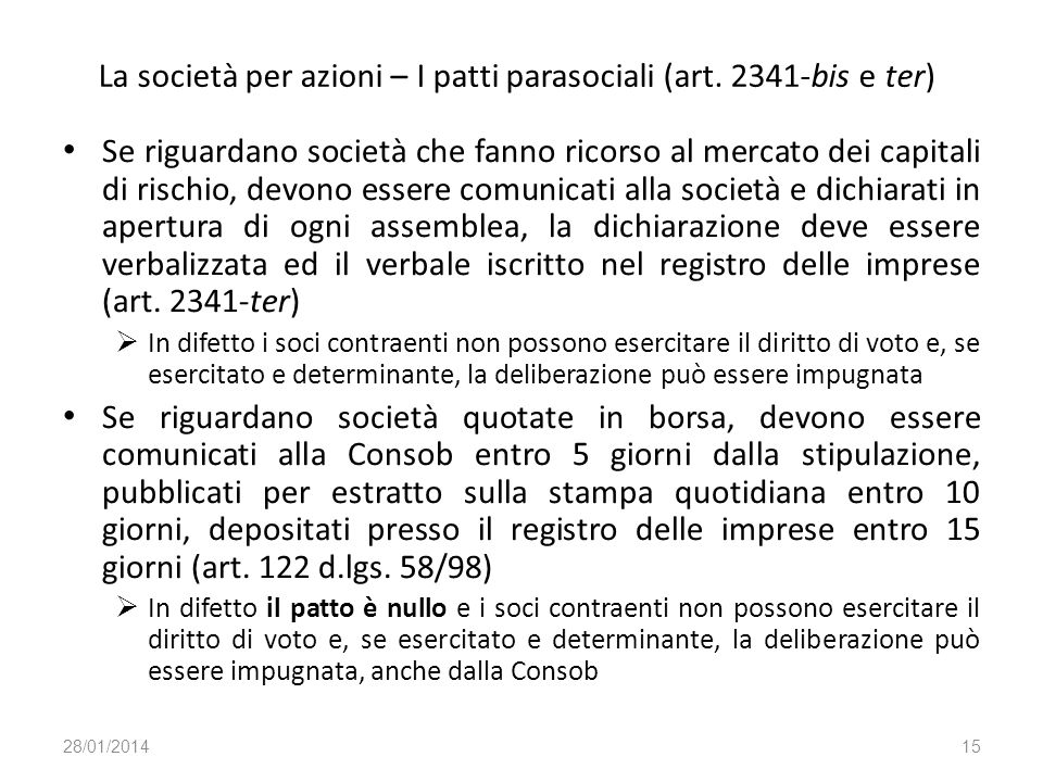 La società per azioni – I patti parasociali (art. 2341-bis e ter)