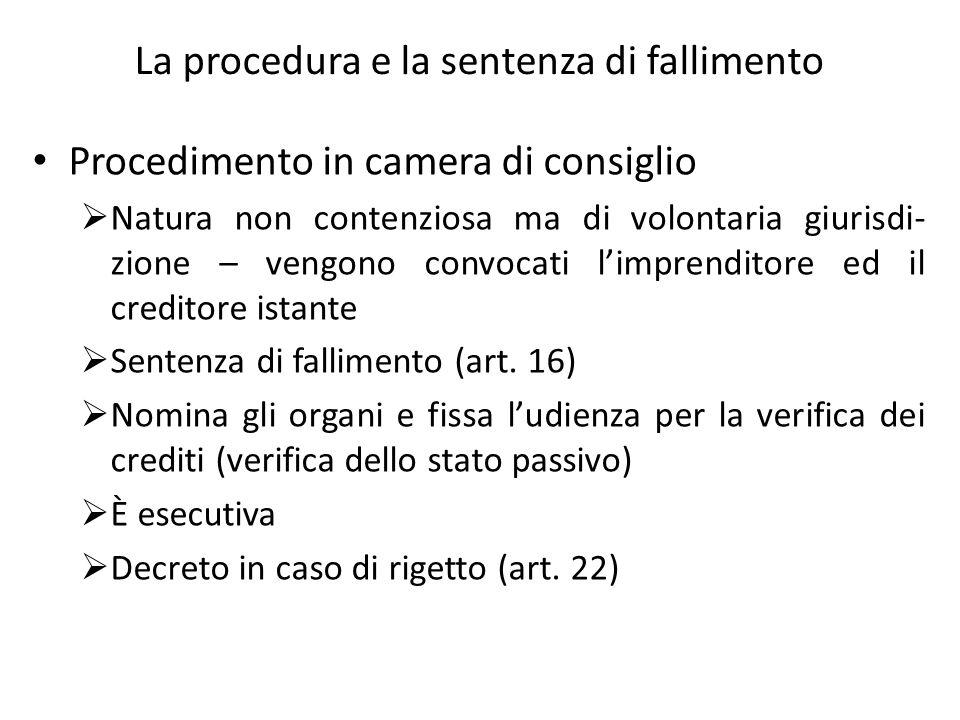 La procedura e la sentenza di fallimento