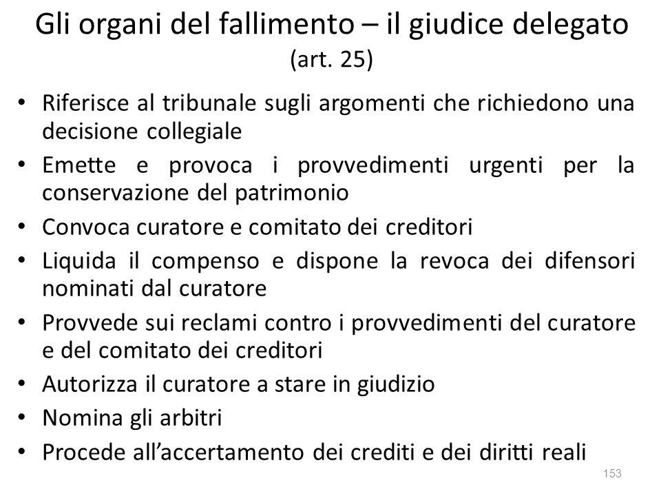 Gli organi del fallimento – il giudice delegato (art. 25)