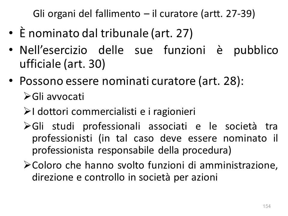 Gli organi del fallimento – il curatore (artt. 27-39)