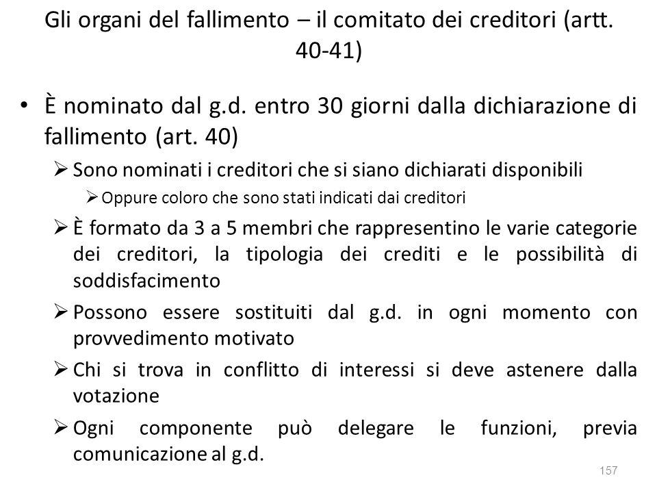 Gli organi del fallimento – il comitato dei creditori (artt. 40-41)