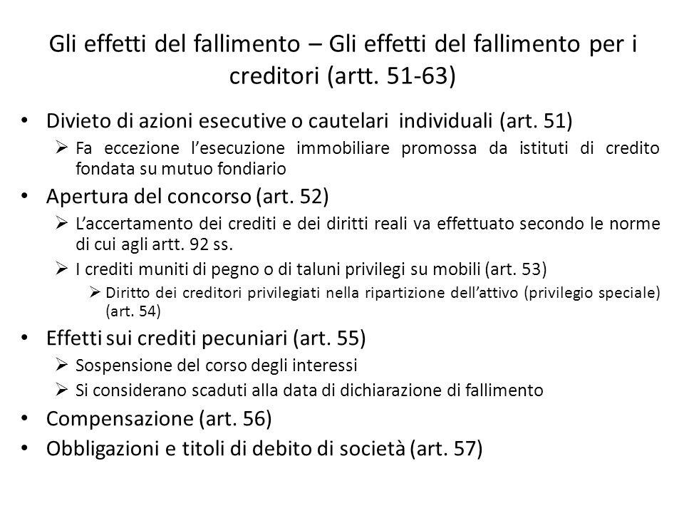 Gli effetti del fallimento – Gli effetti del fallimento per i creditori (artt. 51-63)