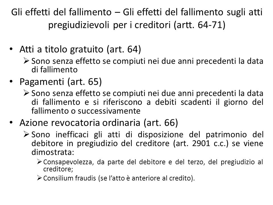 Atti a titolo gratuito (art. 64) Pagamenti (art. 65)