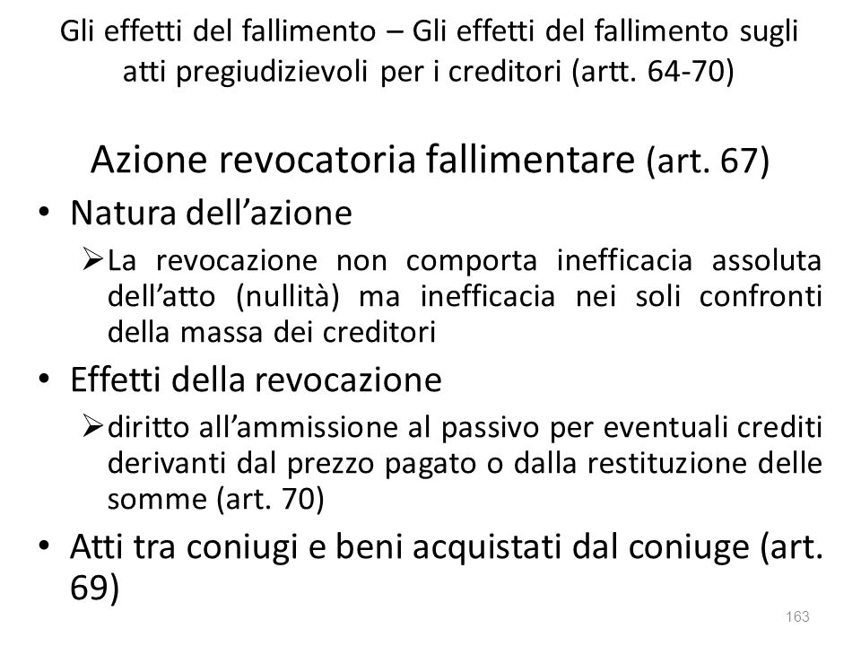 Azione revocatoria fallimentare (art. 67)