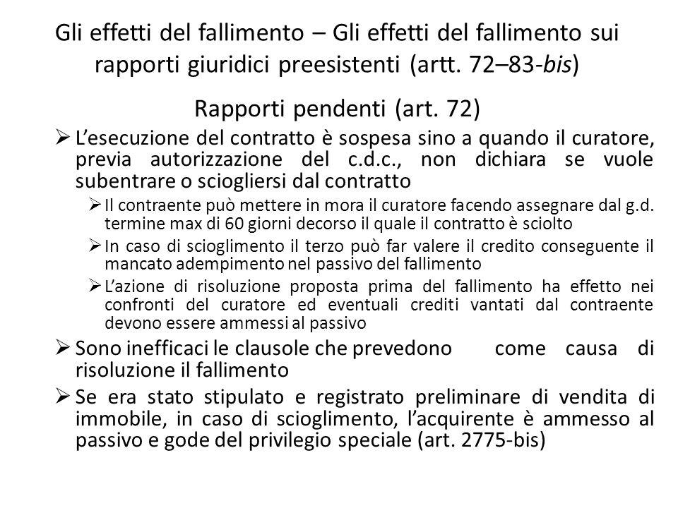 Rapporti pendenti (art. 72)