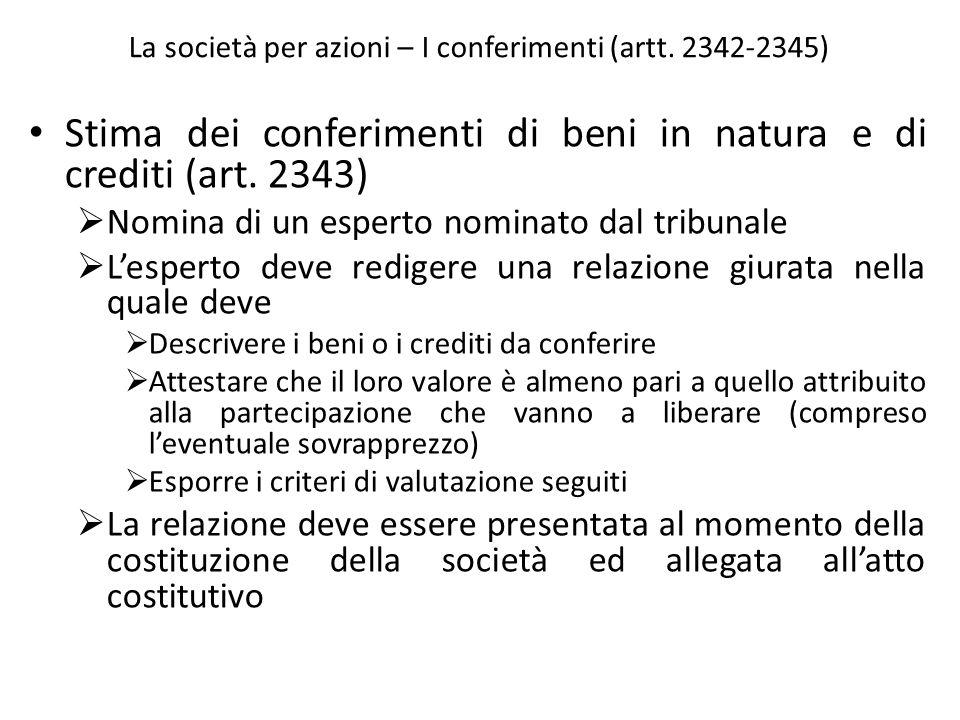La società per azioni – I conferimenti (artt. 2342-2345)