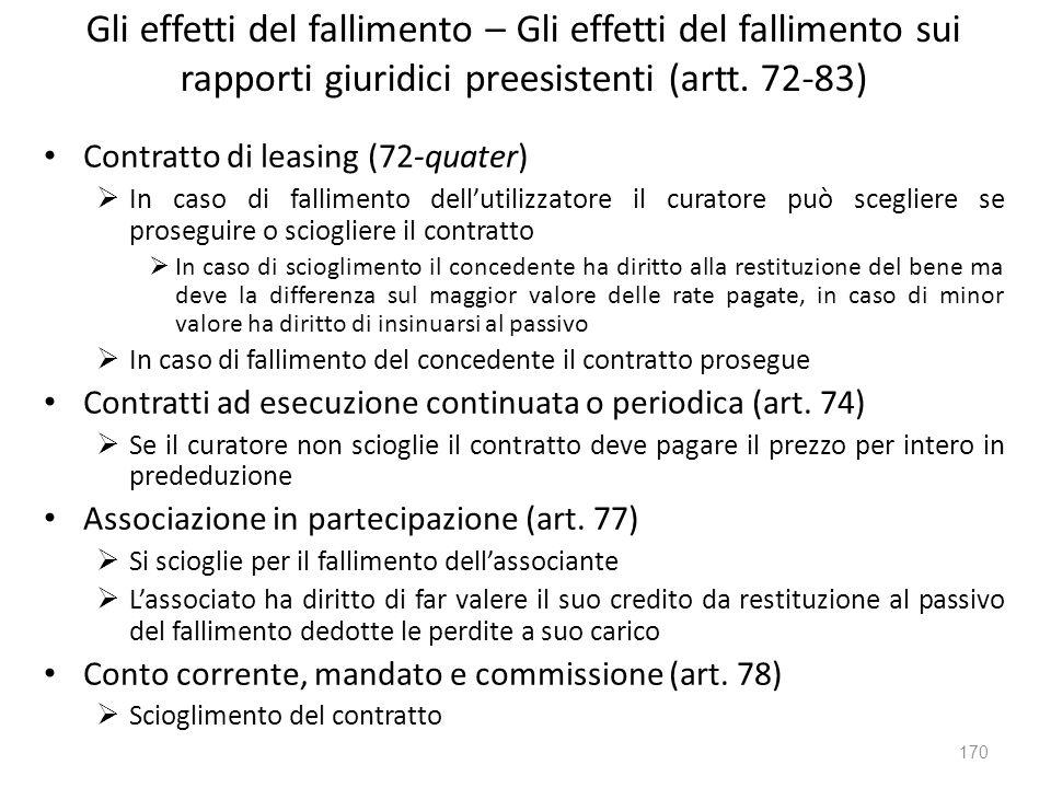 Gli effetti del fallimento – Gli effetti del fallimento sui rapporti giuridici preesistenti (artt. 72-83)
