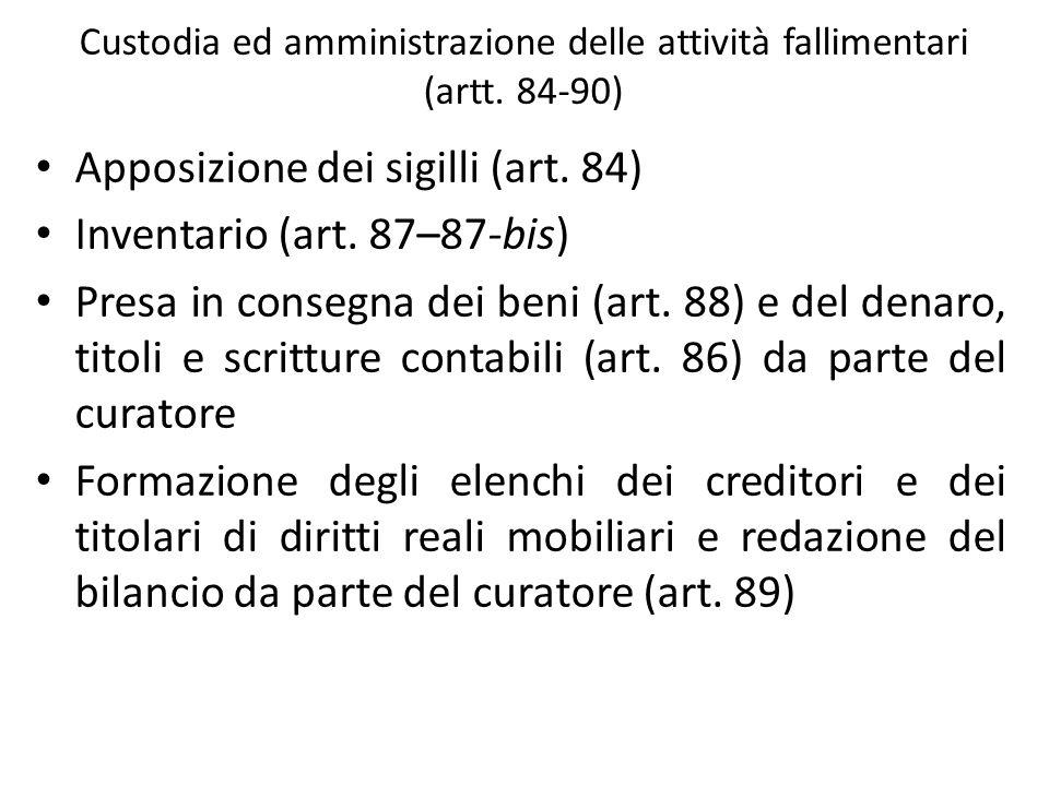 Custodia ed amministrazione delle attività fallimentari (artt. 84-90)