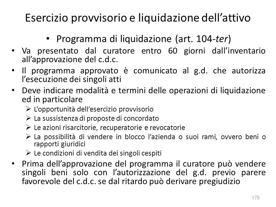 Esercizio provvisorio e liquidazione dell'attivo