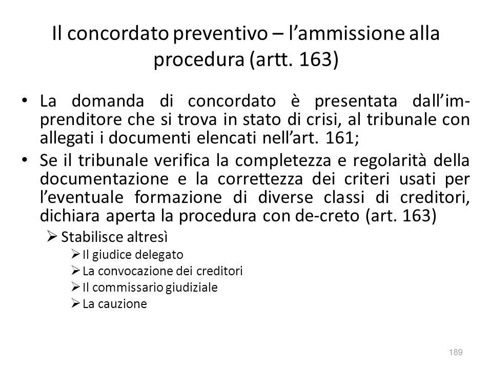 Il concordato preventivo – l'ammissione alla procedura (artt. 163)