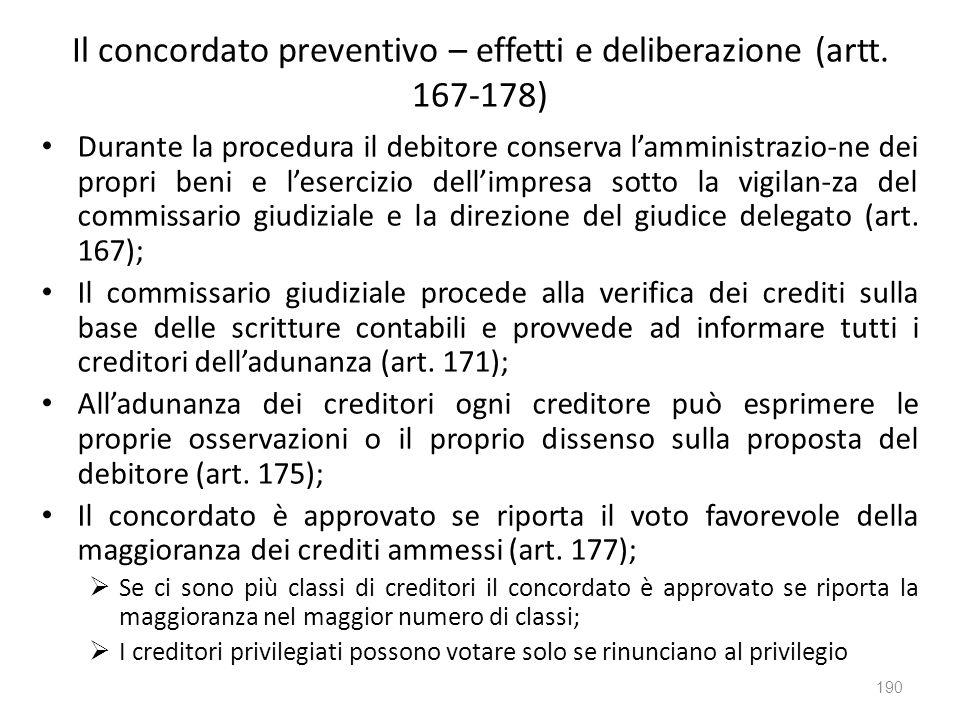 Il concordato preventivo – effetti e deliberazione (artt. 167-178)