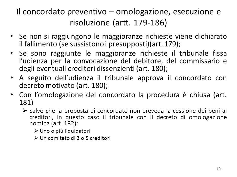 Il concordato preventivo – omologazione, esecuzione e risoluzione (artt. 179-186)
