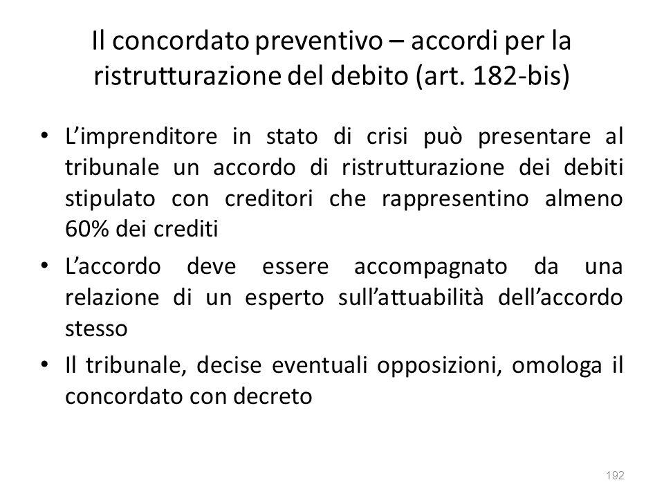 Il concordato preventivo – accordi per la ristrutturazione del debito (art. 182-bis)