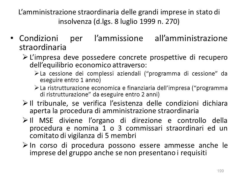 Condizioni per l'ammissione all'amministrazione straordinaria