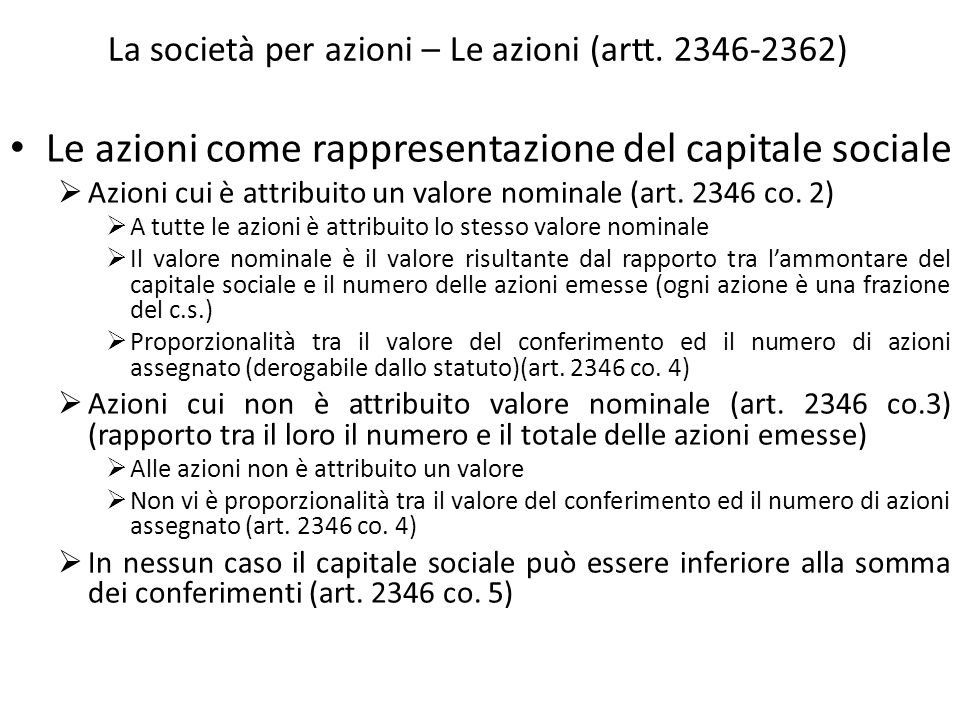 La società per azioni – Le azioni (artt. 2346-2362)
