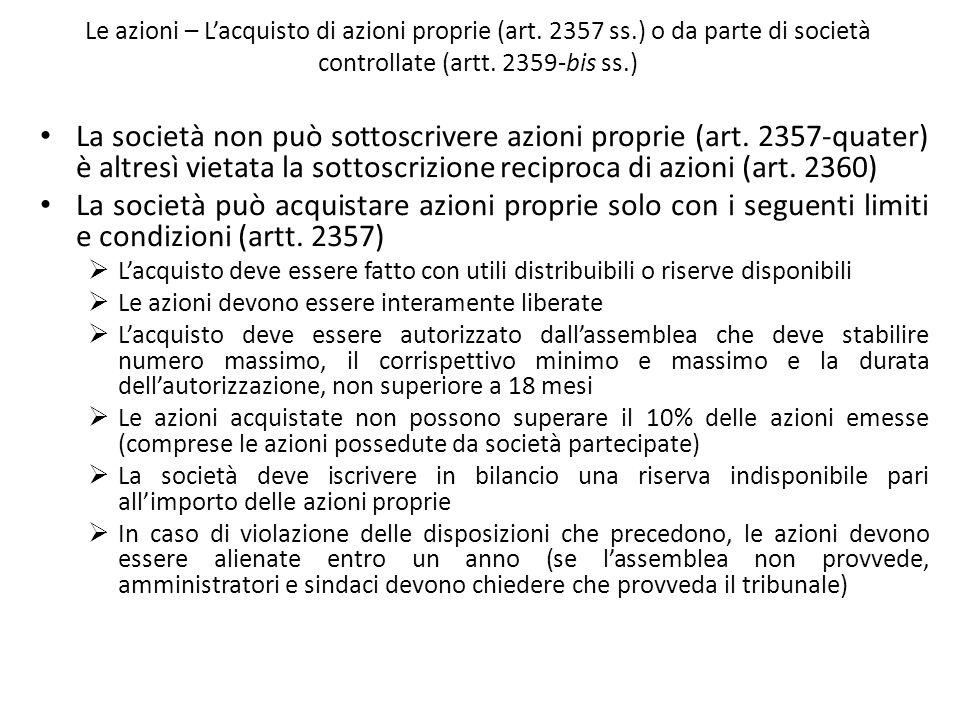 Le azioni – L'acquisto di azioni proprie (art. 2357 ss