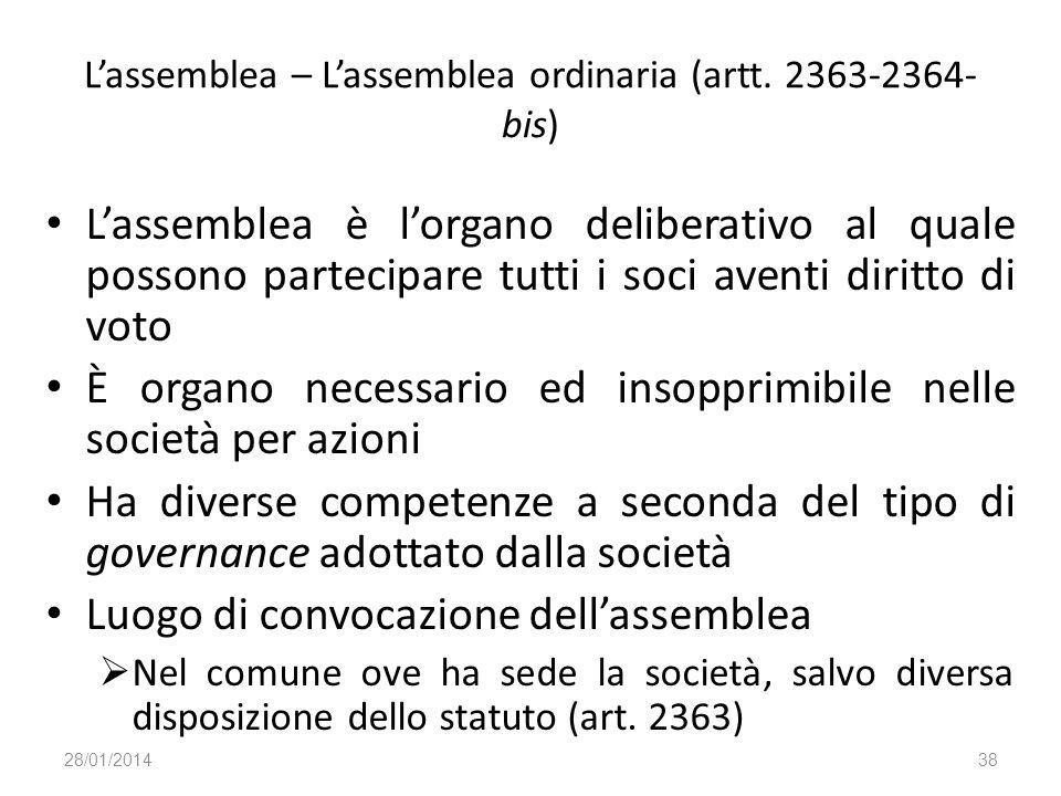 L'assemblea – L'assemblea ordinaria (artt. 2363-2364-bis)