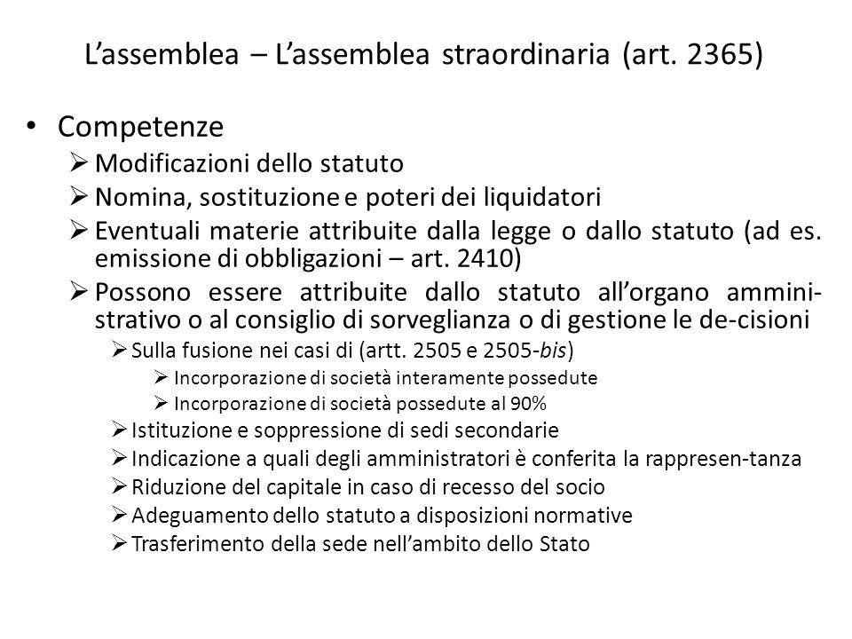 L'assemblea – L'assemblea straordinaria (art. 2365)