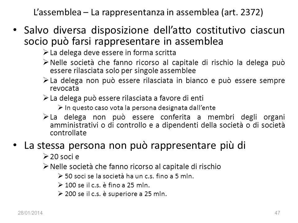 L'assemblea – La rappresentanza in assemblea (art. 2372)