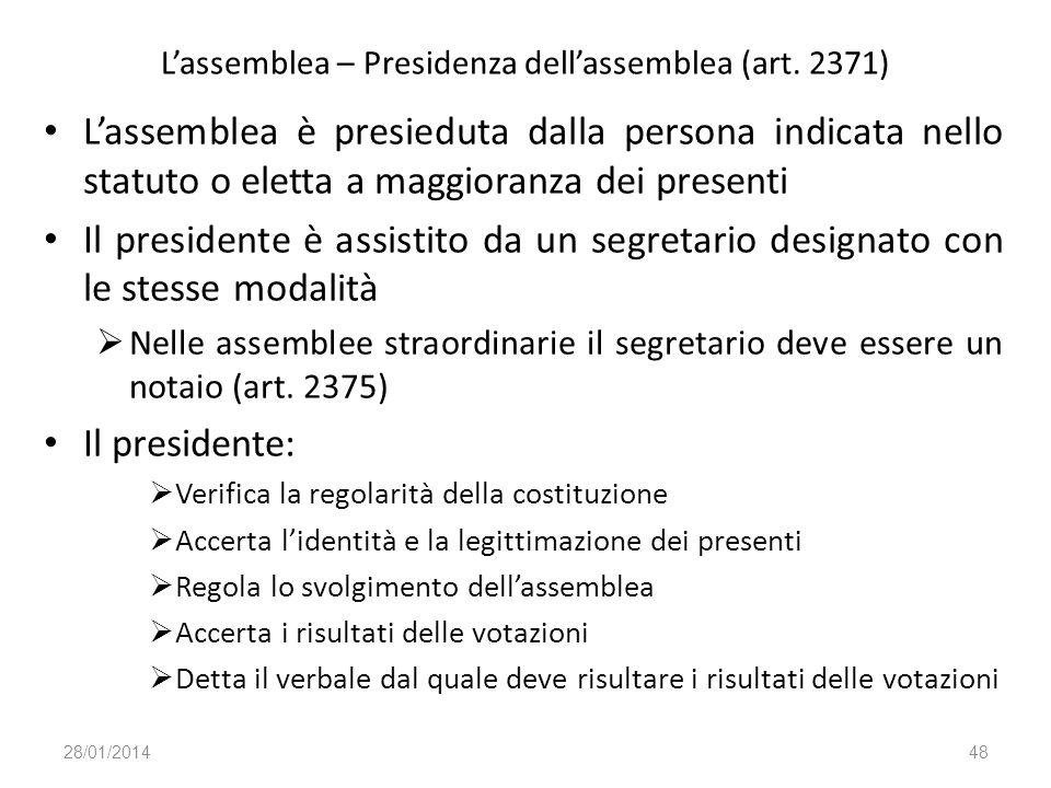 L'assemblea – Presidenza dell'assemblea (art. 2371)
