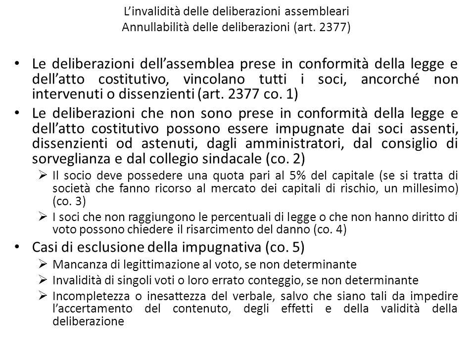 Casi di esclusione della impugnativa (co. 5)