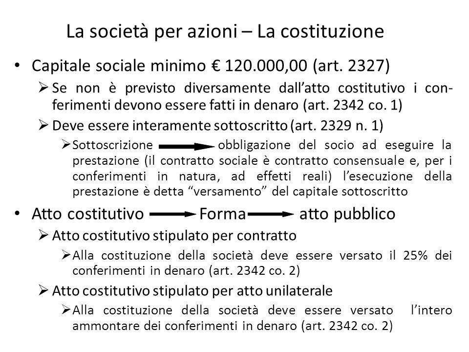 La società per azioni – La costituzione