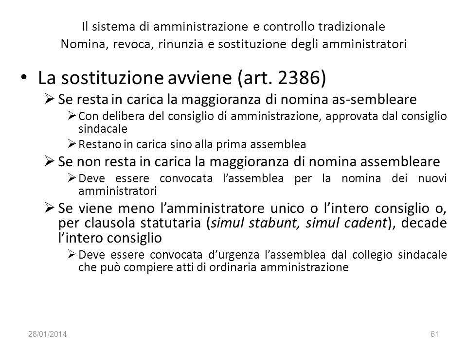 La sostituzione avviene (art. 2386)