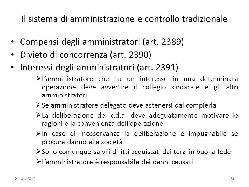 Il sistema di amministrazione e controllo tradizionale
