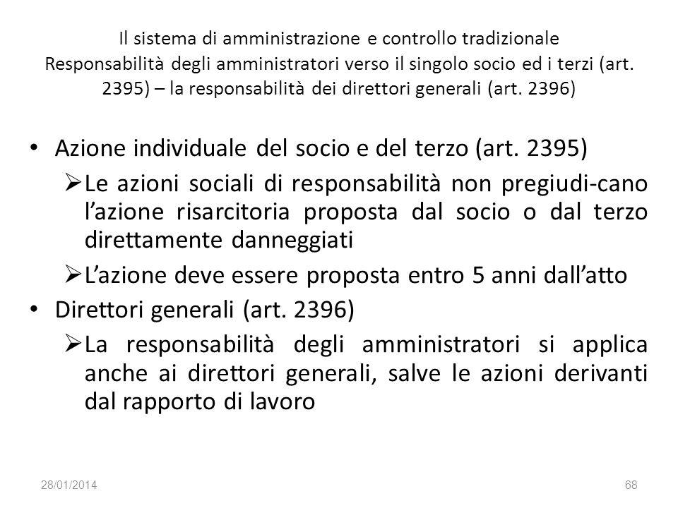 Azione individuale del socio e del terzo (art. 2395)