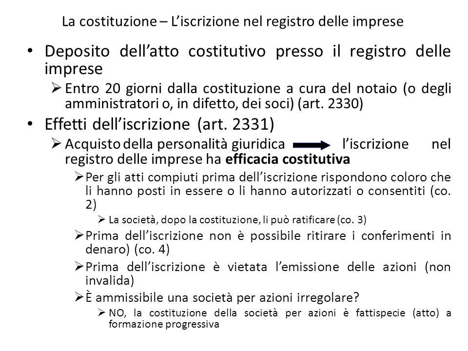La costituzione – L'iscrizione nel registro delle imprese