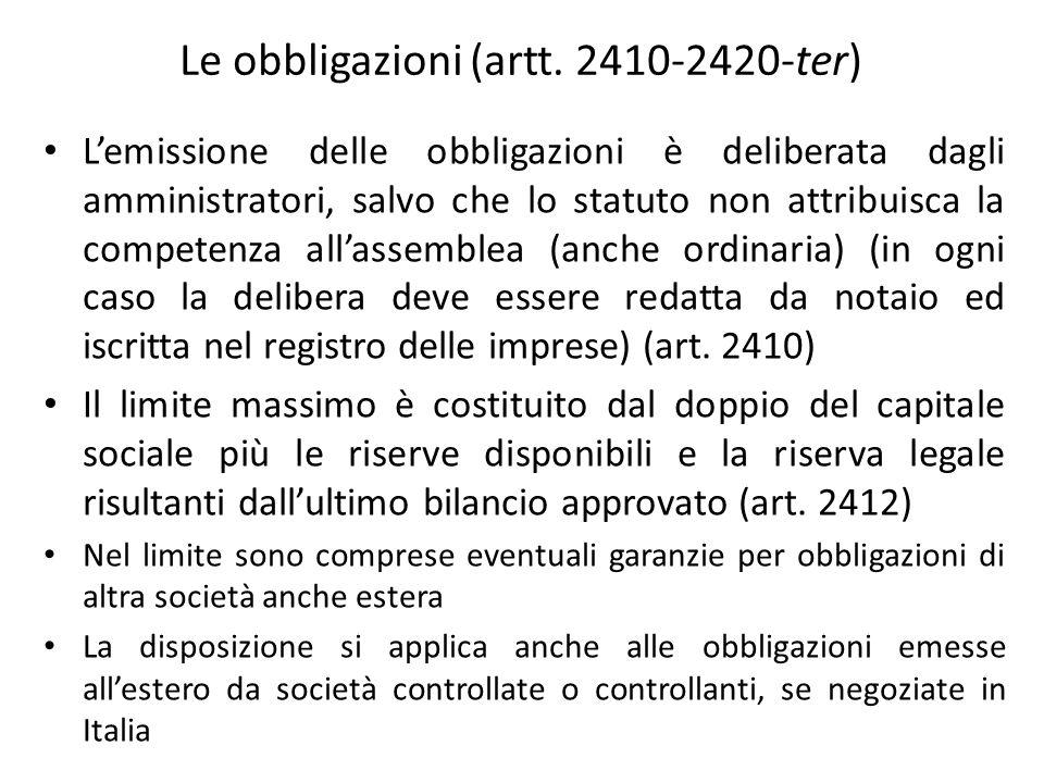 Le obbligazioni (artt. 2410-2420-ter)