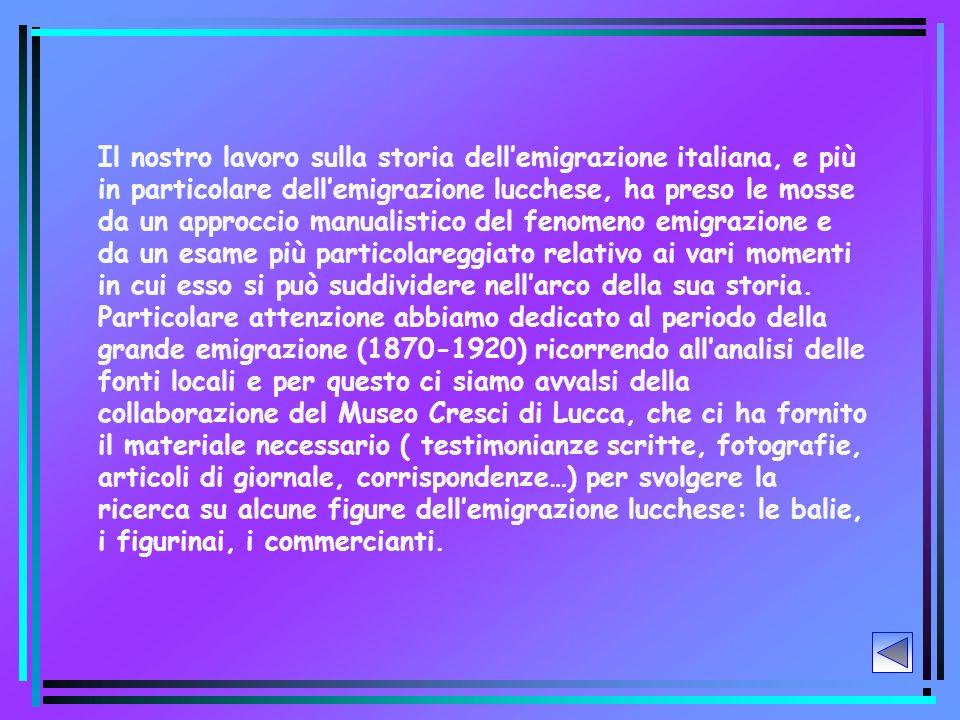 Il nostro lavoro sulla storia dell'emigrazione italiana, e più in particolare dell'emigrazione lucchese, ha preso le mosse da un approccio manualistico del fenomeno emigrazione e da un esame più particolareggiato relativo ai vari momenti in cui esso si può suddividere nell'arco della sua storia.