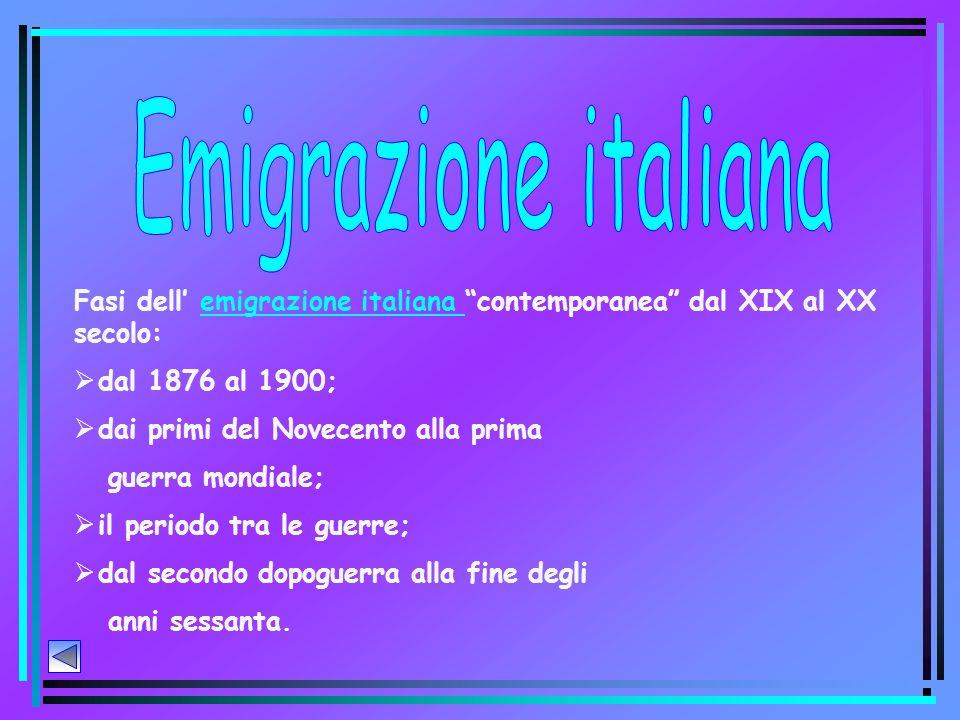 Emigrazione italiana Fasi dell' emigrazione italiana contemporanea dal XIX al XX secolo: dal 1876 al 1900;
