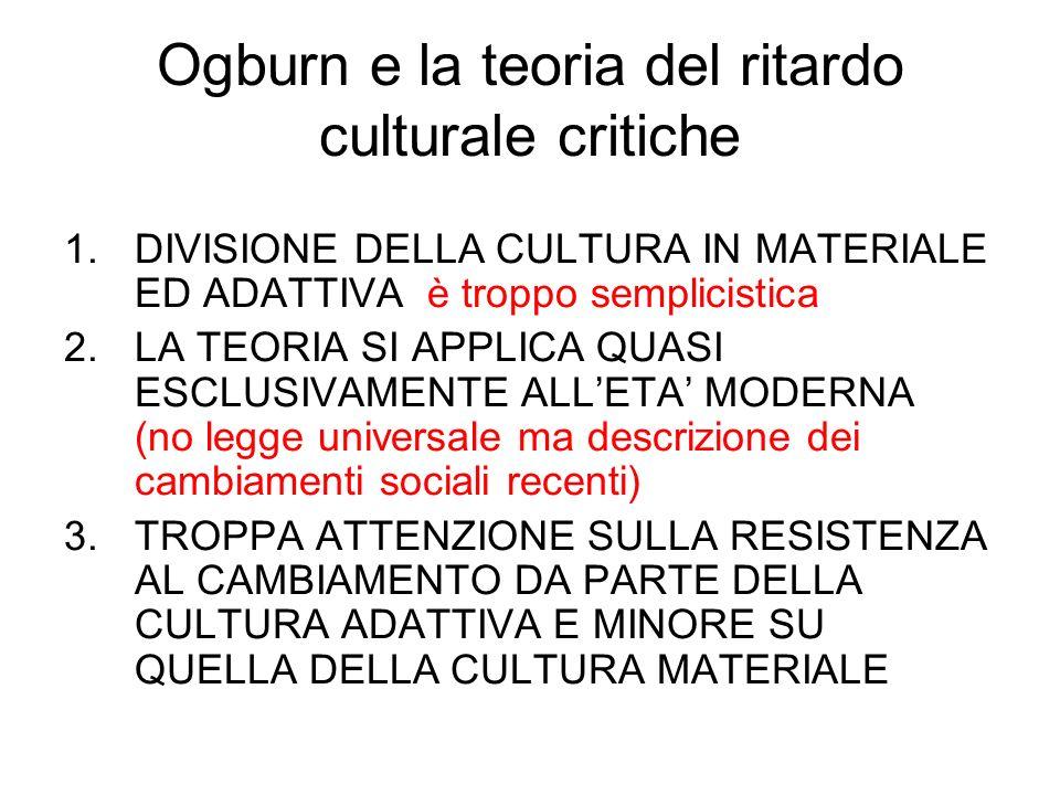 Ogburn e la teoria del ritardo culturale critiche