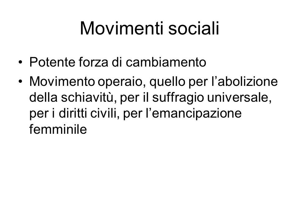 Movimenti sociali Potente forza di cambiamento