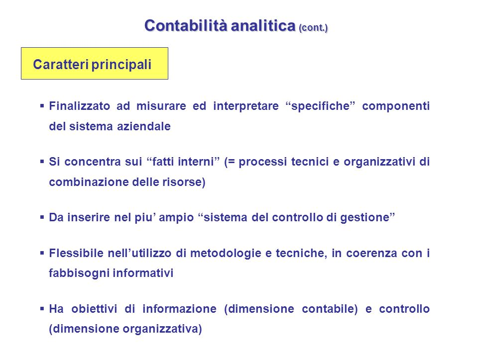 Contabilità analitica (cont.)