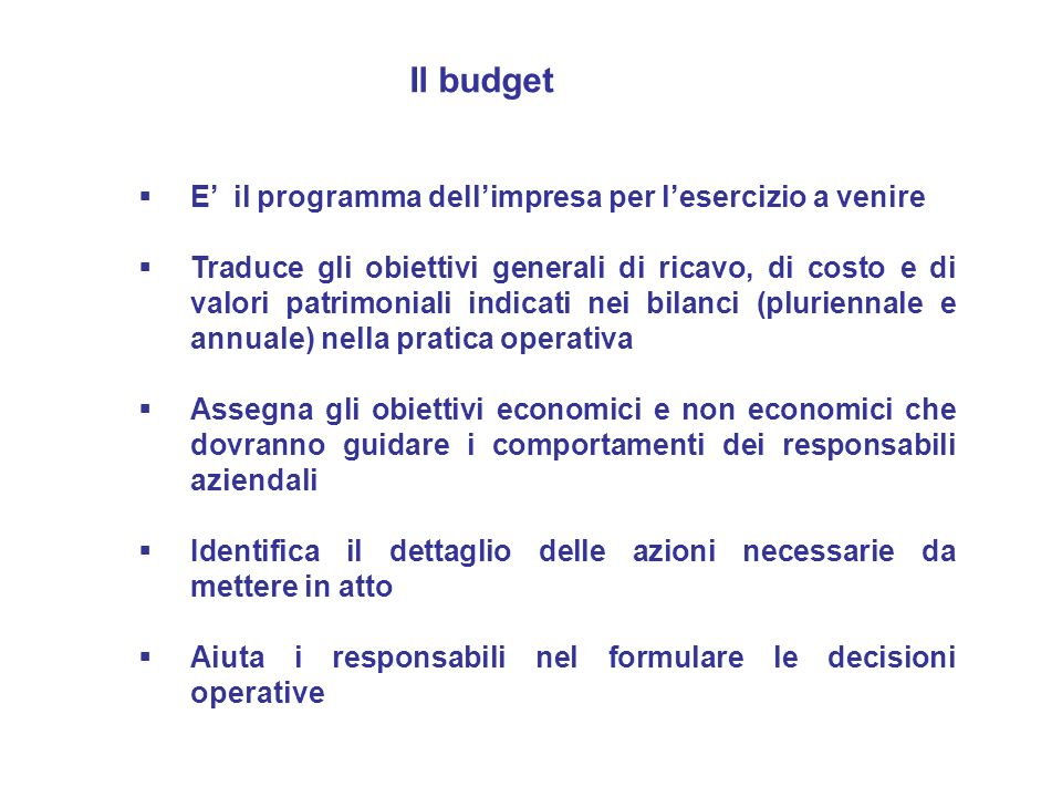 Il budget E' il programma dell'impresa per l'esercizio a venire