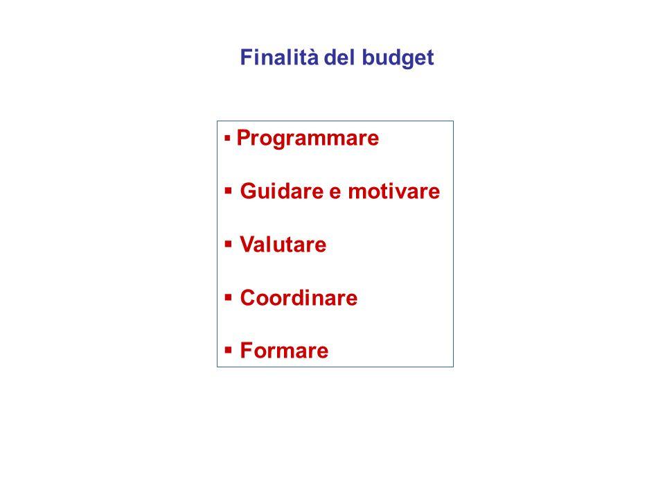 Finalità del budget Guidare e motivare Valutare Coordinare Formare