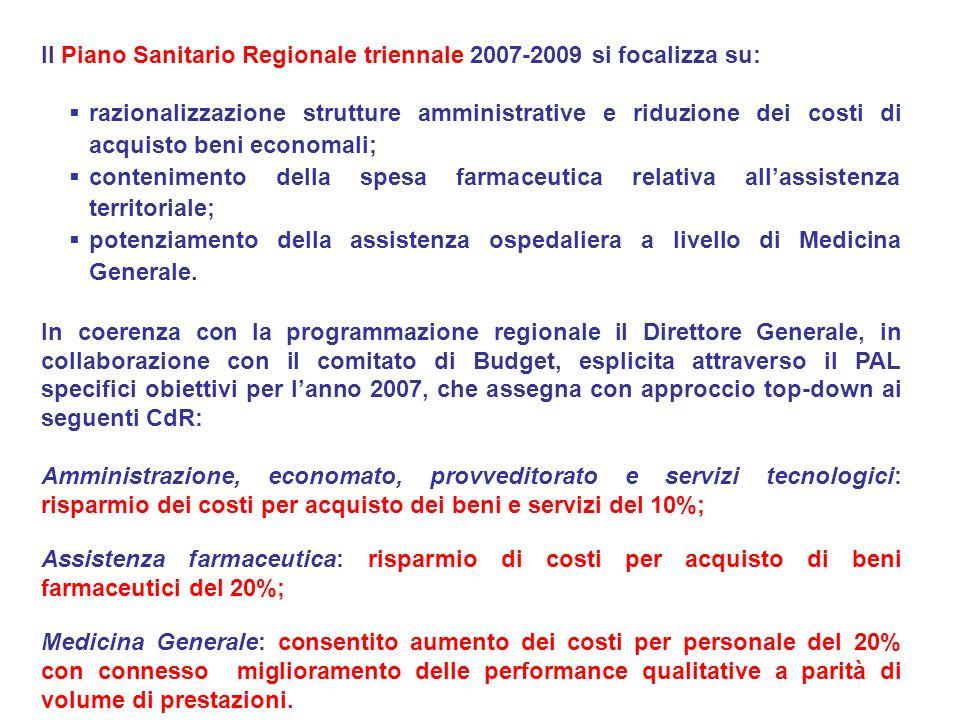 Il Piano Sanitario Regionale triennale 2007-2009 si focalizza su:
