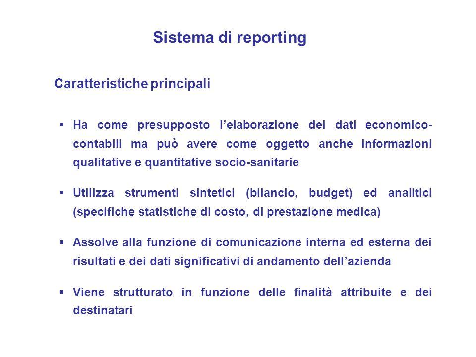 Sistema di reporting Caratteristiche principali