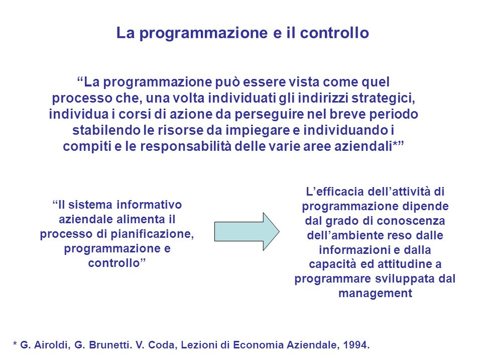 La programmazione e il controllo